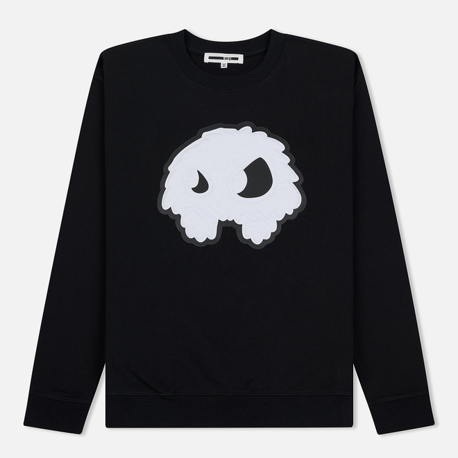 Мужская толстовка McQ Alexander McQueen Embossed Monster Big Crew Neck Darkest Black