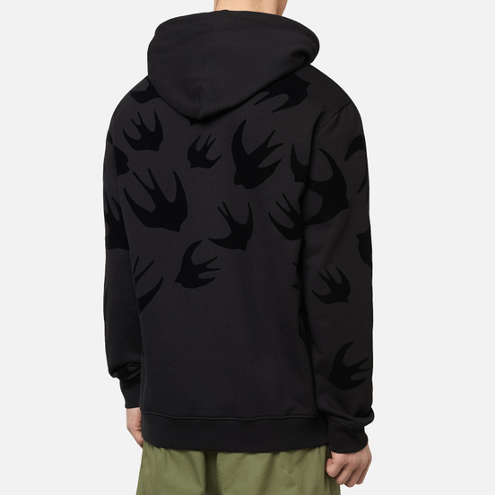 Мужская толстовка McQ Alexander McQueen Pullover Hoodie Swallow Flocked Darkest Black