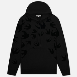Мужская толстовка McQ Alexander McQueen Pullover Hoodie Swallow Flocked Darkest Black