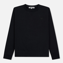 Мужская толстовка McQ Alexander McQueen Swallow Embroidery Coverlock Crew Darkest Black фото- 0