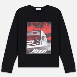Мужская толстовка MSGM Colorful Logo Print Crew Neck Black