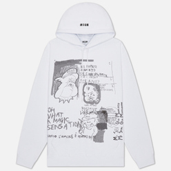 Мужская толстовка MSGM Graffiti Print Hoodie Optical White