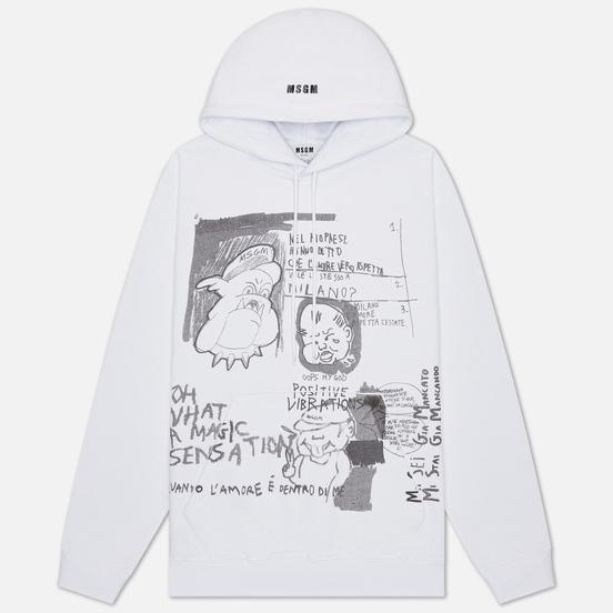 Мужская толстовка MSGM Graffiti Print Hoodie Optical White