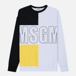 Мужская толстовка MSGM Logo Crew Neck Black/Yellow/White фото- 0