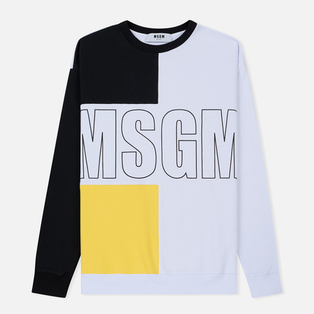 Мужская толстовка MSGM Logo Crew Neck Black/Yellow/White