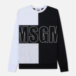 Мужская толстовка MSGM Logo Crew Neck White/Grey/Black фото- 0