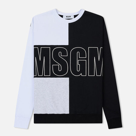 Мужская толстовка MSGM Logo Crew Neck White/Grey/Black