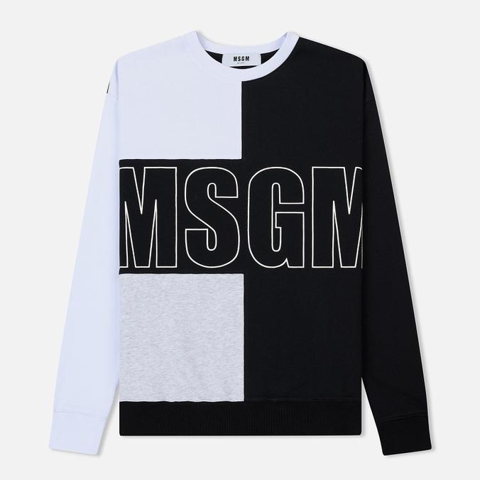 Мужская толстовка MSGM Logo Crew Neck White/Grey/Black