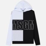 Мужская толстовка MSGM Logo Hoodie White/Grey/Black фото- 0