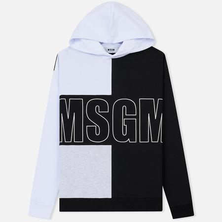 Мужская толстовка MSGM Logo Hoodie White/Grey/Black