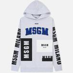 Мужская толстовка MSGM Logo Print Hoodie Grey фото- 0