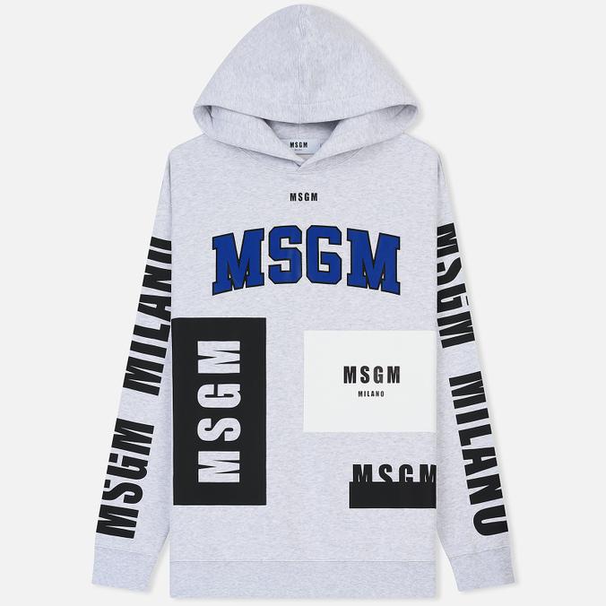 Мужская толстовка MSGM Logo Print Hoodie Grey