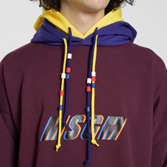 Мужская толстовка MSGM Multicolor Hoodie Bordeaux