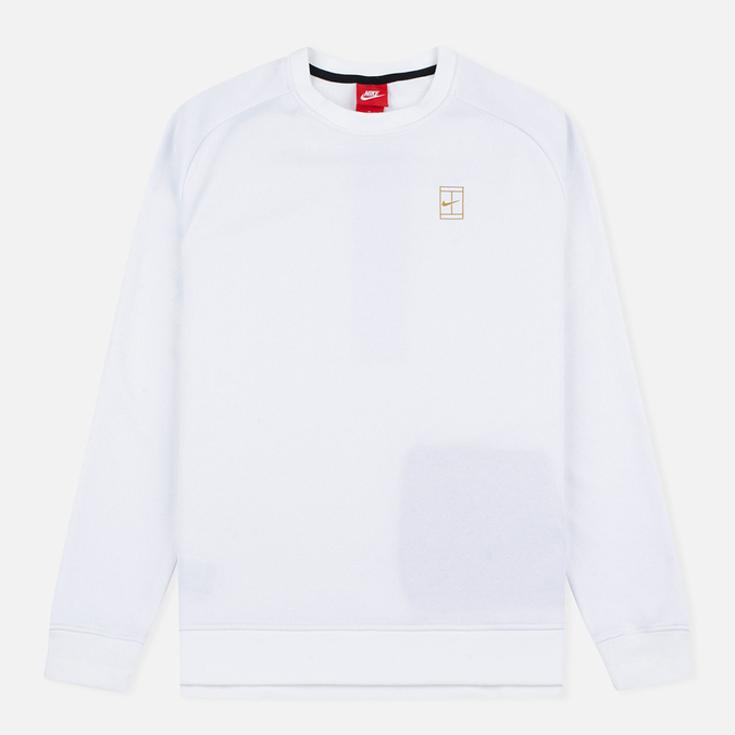 Мужская толстовка Nike Court Fleece Crew White/Metallic Gold