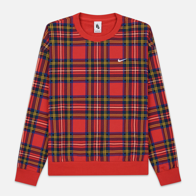 Мужская толстовка Nike NRG Crew Swoosh Stripe Plaid University Red