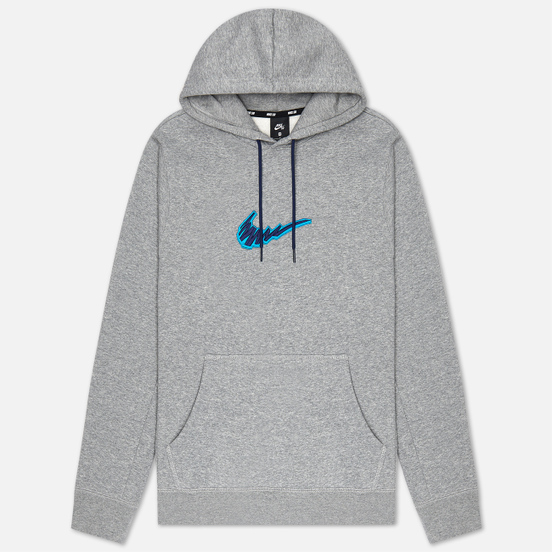 Мужская толстовка Nike SB Fleece Skate Hoodie Dark Grey Heather/Laser Blue