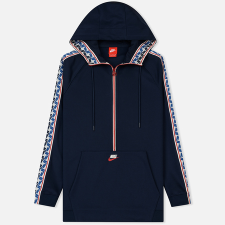 Мужская толстовка Nike Taped Half Zip Hoodie Poly Obsidian/Gym Red/Sail