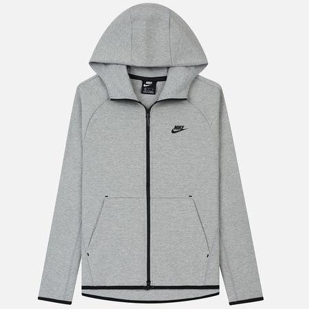 Мужская толстовка Nike Tech Fleece Hoodie Full Zip Grey Heather/Black/Black