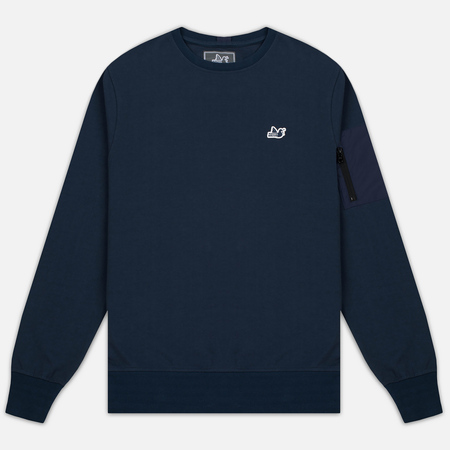 Peaceful Hooligan Light Zipped Nylon Ripstop Pocket Men's Sweatshirt Navy