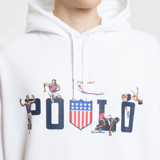 Мужская толстовка Polo Ralph Lauren Athletic Sport Graphic Print Hoodie White