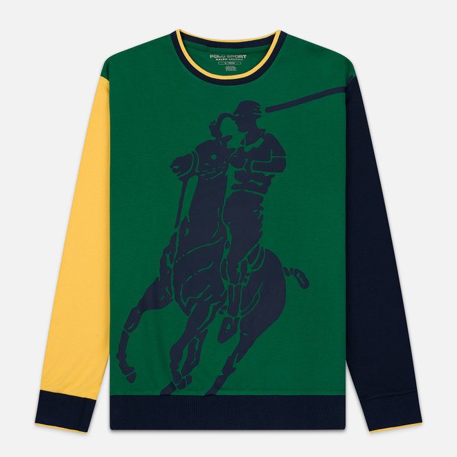 Мужская толстовка Polo Ralph Lauren Big Pony Polo Color Block Jerry Green/Cruise Navy/Yellow Fin