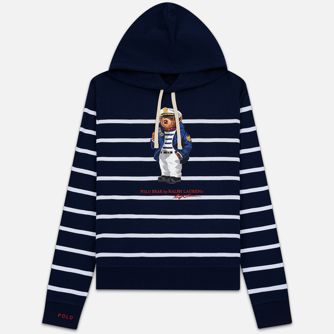 Мужская толстовка Polo Ralph Lauren Capitan Bear Hoody Stripe Cruise Navy/White