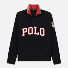 Мужская толстовка Polo Ralph Lauren Embroidery Flag Patch U.S.A. Half-Zip Black фото- 0