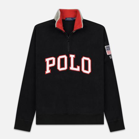 Мужская толстовка Polo Ralph Lauren Embroidery Flag Patch U.S.A. Half-Zip Black