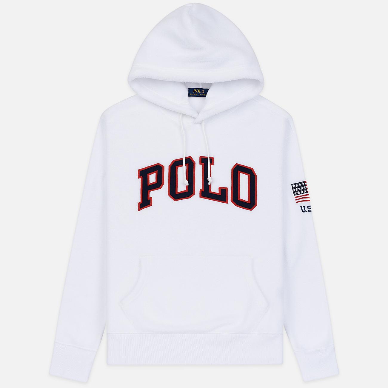 Мужская толстовка Polo Ralph Lauren Embroidery Flag Patch U.S.A. Hoodie White