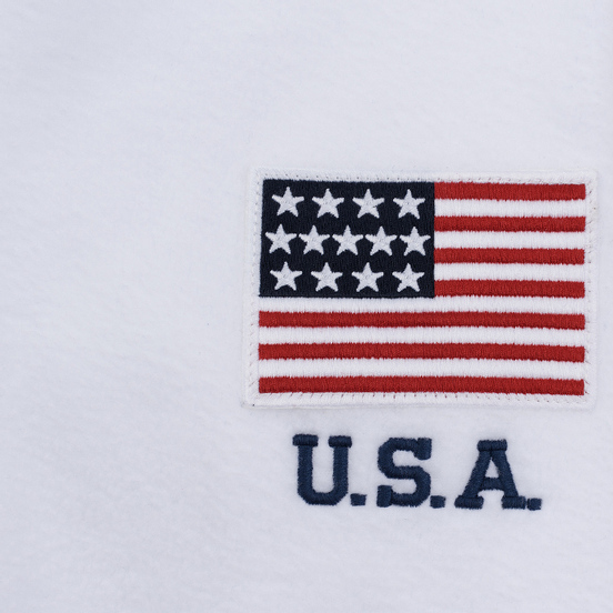 Мужская толстовка Polo Ralph Lauren Embroidery Flag Patch U.S.A. Hoodie White