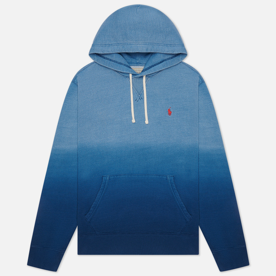 Мужская толстовка Polo Ralph Lauren Garment Dyed Fleece Hoodie Dip Dye Indigo