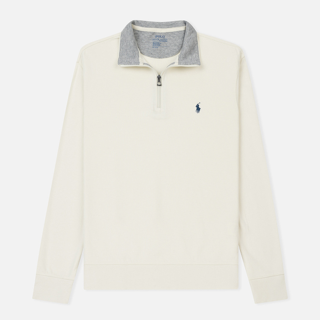 Мужская толстовка Polo Ralph Lauren Half Zip Double Knit Jersey Chic Cream
