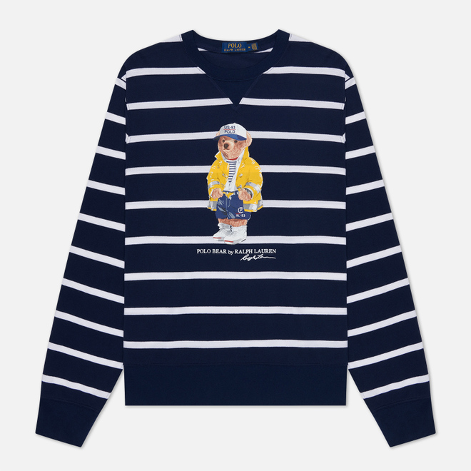 Мужская толстовка Polo Ralph Lauren Iconic Polo Bear Sporting CP-93 Stripe Cruise Navy/White