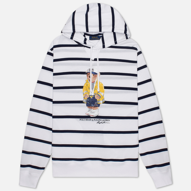 Мужская толстовка Polo Ralph Lauren Iconic Polo Bear Sporting CP-93 Stripe Hoodie White/Cruise Navy