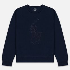 Мужская толстовка Polo Ralph Lauren Signature Embroidered Big Pony Crew Neck Aviator Navy