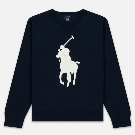 Мужская толстовка Polo Ralph Lauren Signature Embroidered Big Pony Crew Neck Aviator Navy/Cream