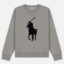 Мужская толстовка Polo Ralph Lauren Signature Embroidered Big Pony Crew Neck Battalion Grey Heather/Black фото- 0