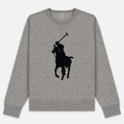Мужская толстовка Polo Ralph Lauren Signature Embroidered Big Pony Crew Neck Battalion Grey Heather/Black