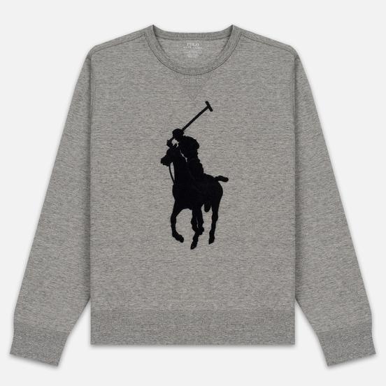 Мужская толстовка Polo Ralph Lauren Signature Embroidered Big Pony Crew Neck Battalion Grey Heather/Black
