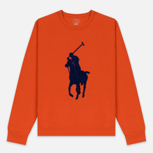 Мужская толстовка Polo Ralph Lauren Signature Embroidered Big Pony Crew Neck College Orange фото- 0