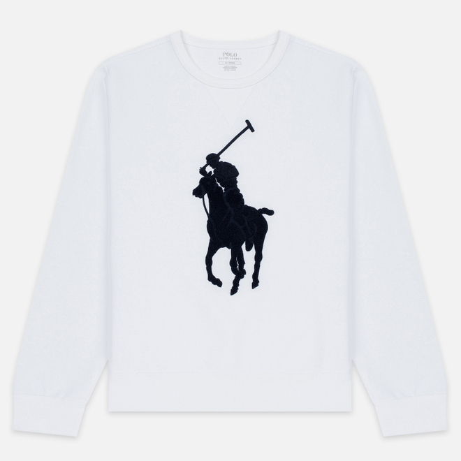 Мужская толстовка Polo Ralph Lauren Signature Embroidered Big Pony Crew Neck White/Navy