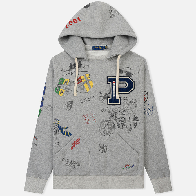 Мужская толстовка Polo Ralph Lauren Vintage Print Hoodie Light Grey Heather