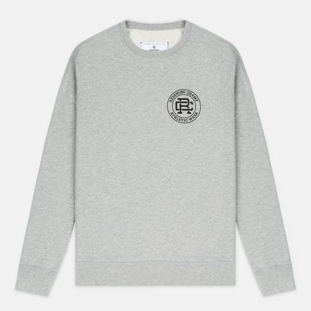 Reigning Champ Crest Logo Crew Neck Men's Sweatshirt Heather Grey