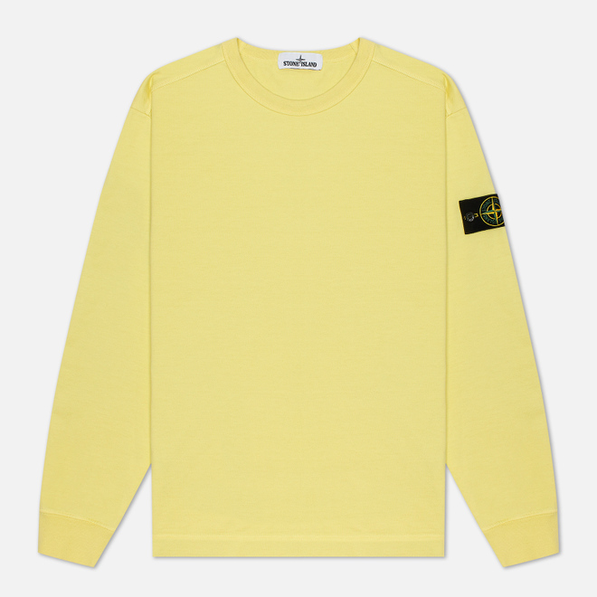 Мужская толстовка Stone Island Classic Crew Neck Heavyweight Cotton Lemon