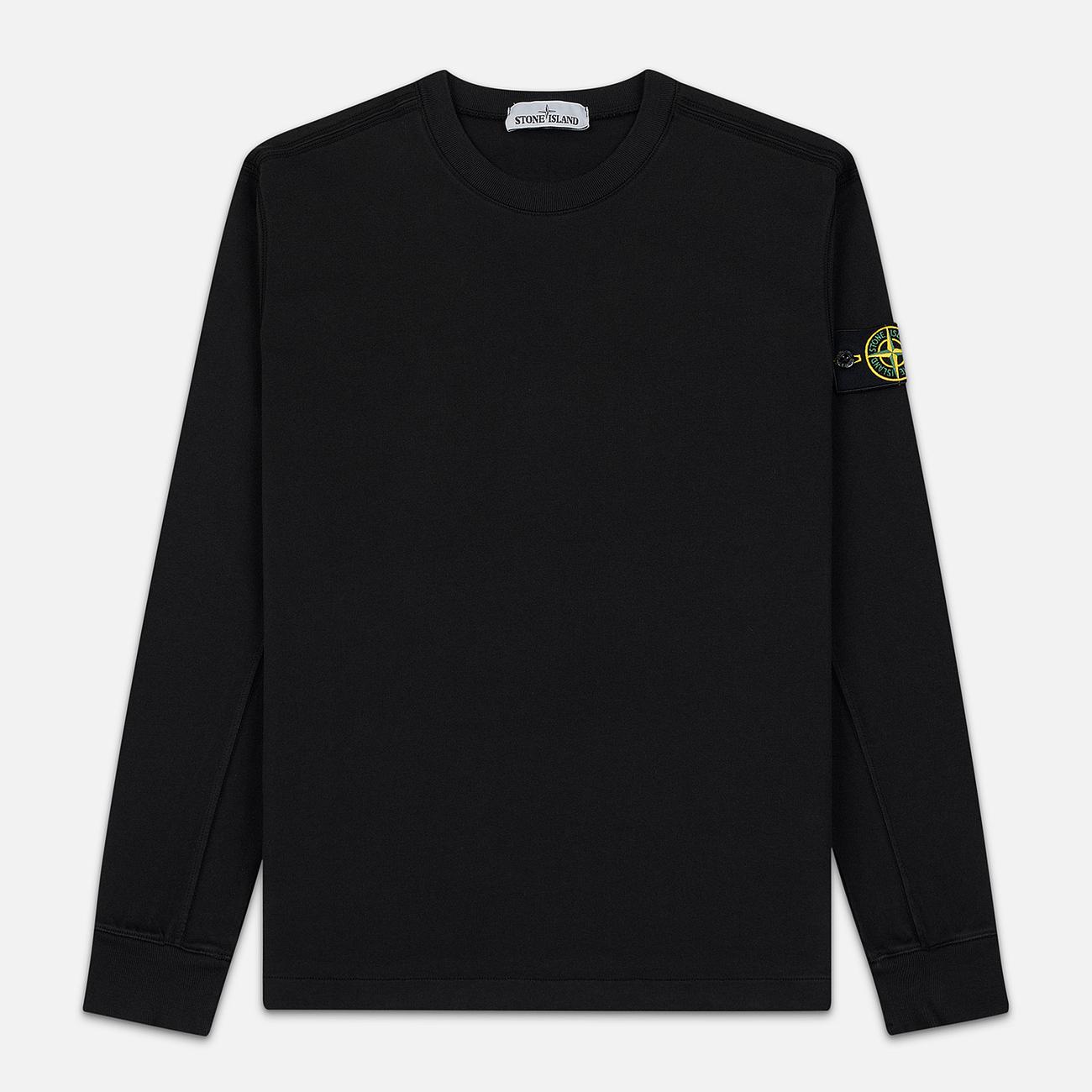 Мужская толстовка Stone Island Crew Neck Heavy Cotton Garment Dyed Black