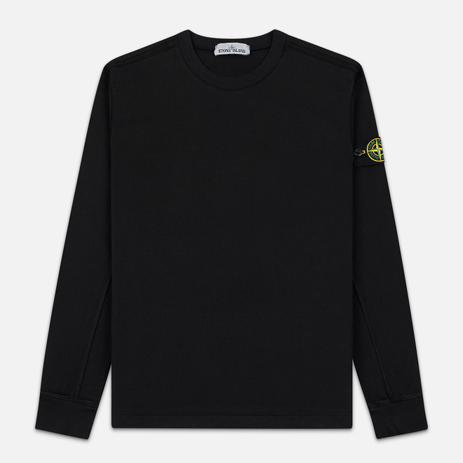 Мужская толстовка Stone Island Crew Neck Heavy Cotton Garment Dyed Black