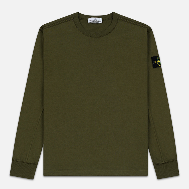 Мужская толстовка Stone Island Crew Neck Heavy Cotton Garment Dyed Olive Green