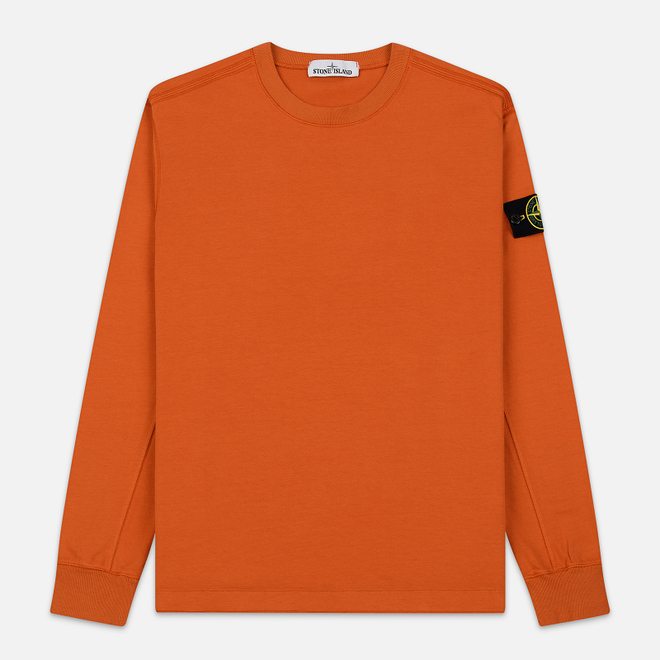 Мужская толстовка Stone Island Crew Neck Heavy Cotton Garment Dyed Orange