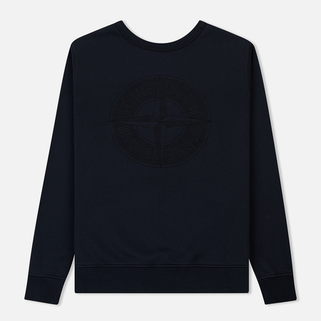 Мужская толстовка Stone Island Embossed Logo Applied Chest Navy Blue