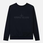 Мужская толстовка Stone Island Embossed Logo Applied Chest Navy Blue фото- 1